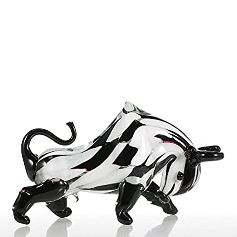 Tooarts Noir & Blanc Cattle Sculpture en verre Home Decor