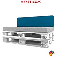 Preisvergleich für Arketicom Pallett-One, Palettenkissen Rückenkissen Sofa Polster Outdoor Indoor Paletten Sofa Palettenpolster Blu Baumwolle for Indoor and Outdoors 120 cm lung x 30 cm height x 15 depth 1000% Made in Italy