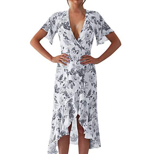 Sonojie Frauen Sommer V-Ausschnitt Unregelmäßig Gedruckt Strand Lange Kleider Bohemian Party Kleider (Vegas Ideen Party Kostüm)