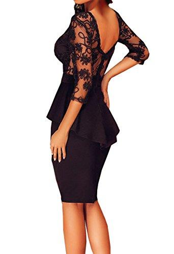 Dissa® SY60609 deman sexy kleider Bodycon Midi Kleid Schwarz