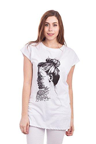 Abbino 016-1 Shirts Tops Damen - Made in Italy - 2 Farben - Übergang Frühling Sommer Herbst Damenshirts Damentops DamenT-shirts Lässig Kurzarm Sexy Sale Freizeit Elegant Bedrucken Weiss (Art. 016-1)