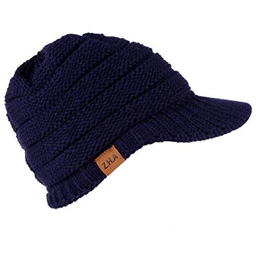 Oliviavan Cap Baseball Mane Ball Warme Strickmütze Frauen Männer Winter häkeln Hut Strickmütze Warme Baseballmütze Crochet Wolle Ski Beanie Schädel Caps