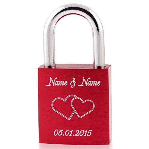 Liebesschloss24 Liebesschloss Rubin-Rot mit Ihrer persönlichen Diamant-Gravur - Gratis Versand