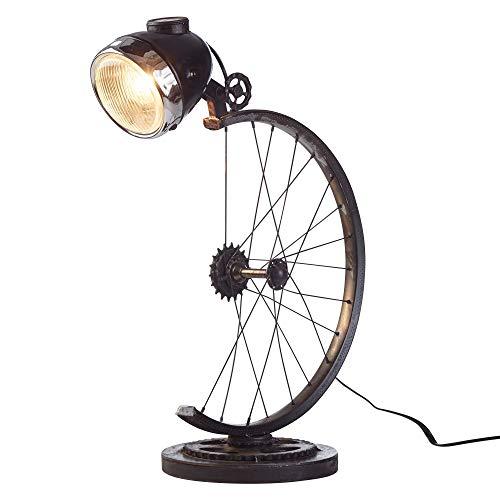 FineBuy Tischlampe FB52129 Schwarz 58 cm Eisen Nachttischlampe Retro Design | Leselampe Metall E27 Fassung | Coole Rohr-Tischleuchte im Steampunk Stil | Industrie Scheinwerfer Schreibtischlampe