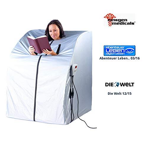 newgen medicals Mini Infrarotkabine: Tragbare Infrarot-Sauna V2 mit 2 Heizern, 1600 Watt (Mini Sauna für Balkon)