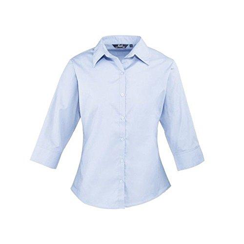Femmes 3/4 pour femme Popeline Chemisier à manches courtes pour femme Coloris uni Chemise de travail Bleu - Bleu clair