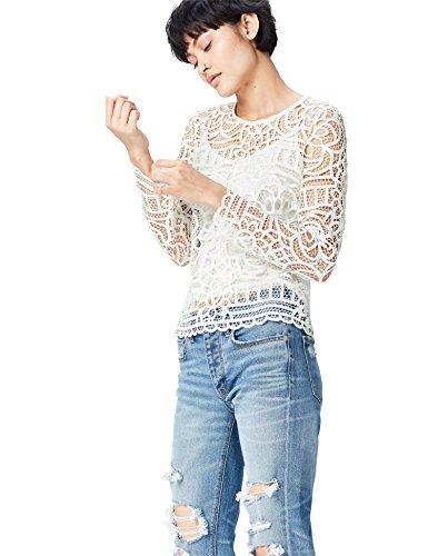 FIND Top de Encaje Calado para Mujer, Blanco (Ivory), 36 (Talla del Fabricante: X-Small)