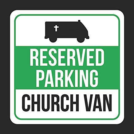 JeremyHar75 Reserved Parking Kirche Van mit Symbol Druck schwarz weiß grün Quadratisch Blechschild Küche und Esszimmer Haus Dekor Essen Trinkbar Bar 30 cm x 30 cm