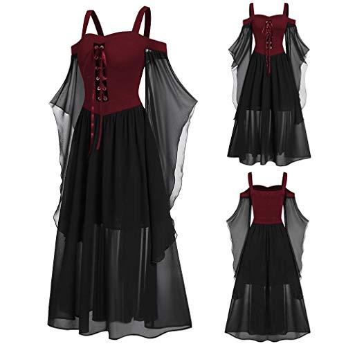 Tensay Frauen plus Größen kalte Schulter Schmetterlings Hülsen Hosenträger Ineinander greifen schnüren sich oben Halloween Kleid Damen gotisches Kleid -