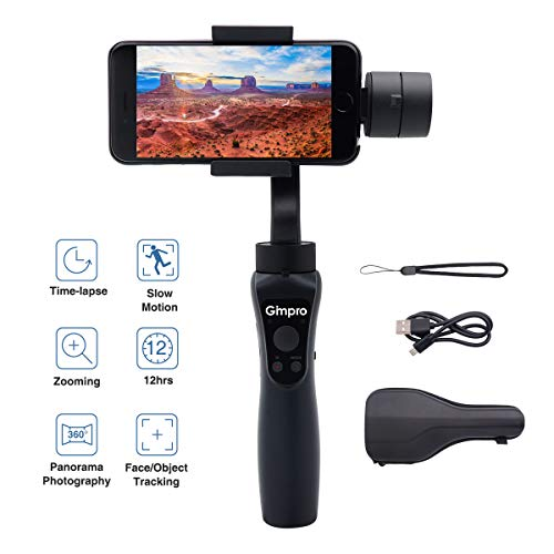 Gimpro Smartphone Gimbal Handy 3 Achsen Handheld Stabilisator 12 Std Spielzeit, Zeitraffer, Objektverfolgung, Zoomen, Zeitlupe, bis zu 6.5 Zoll 240g Belastung für iPhone Android Actionkamera GoPro