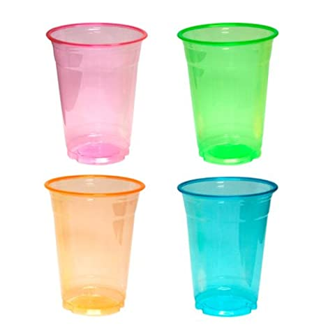 Party Essentials N164060 Soft Plastic Party Cups/Tumblers, 16-Ounce Capacity, Assorted Neon (Case of 400)