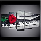 LIPENGYU Print on Canvas Decoration Posters Frame Living Room Wall Art 5 Piece/Pcs Rose Music Piano Modern Painting On Canvas Pictures-40x60cmx2 40x80cmx2 40x100cm No Frame