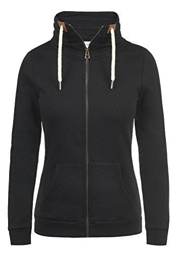 Schwarze Fleece-sweatshirt (DESIRES Vicky Zipper Damen Sweatjacke Kapuzen-Jacke Zip-Hood mit Fleece-Innenseite aus hochwertiger Baumwollmischung Meliert, Größe:L, Farbe:Black (9000))