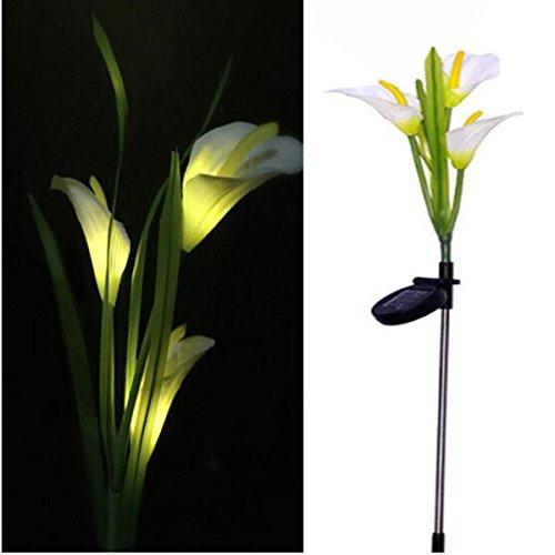 aissimio Calla Lily Solar Lichterkette, 3LED Flower Light Outdoor Wasserdicht Landschaft Dekorative Lampe für Garten Rasen Balkon Beleuchtung