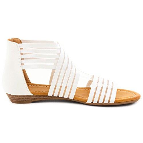 Angesagte Damen Sommer Riemchen Knöchel Sandalen Weiß