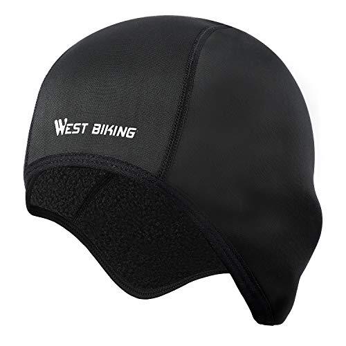 WESTGIRL Fahrrad Mütze, Winddicht Skull Cap Fleece Wintermütze Helm Unterziehmütze, Warm Bike Cap Laufmützen für Herren und Damen