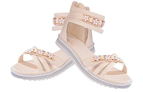 Après les chaussures plates fermeture à glissière sandales femme femmes étudiants occasionnels Rome beige