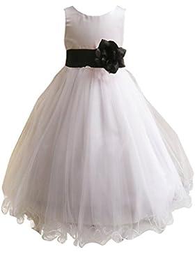 LPATTERN-Abito Tulle Bianco Bambina Floreale Principessa Elegante Rose in Vita Senza Maniche Bambine Vestito Tutu...