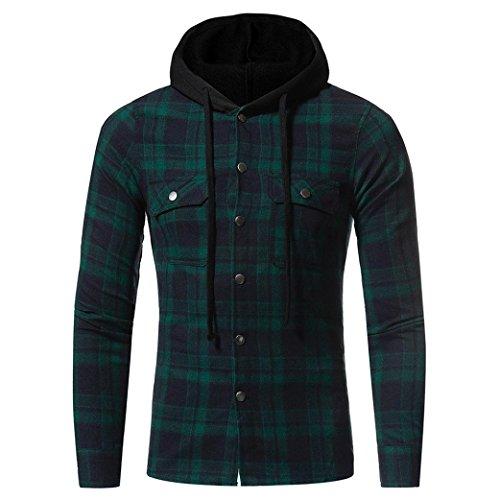 Odejoy manica lunga da uomo outwear cardigan di plaid felpe con chiusura a zip giacca di cappotto con cappuccio cerniera tasche felpa pullover felpa con hooded sweatshirt manica giacca (green, m)