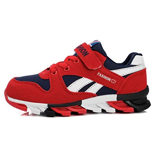 Unpowlink Kinder Schuhe Sportschuhe Ultraleicht Atmungsaktiv Turnschuhe Klettverschluss Low-Top Sneakers Laufen Schuhe Laufschuhe für Mädchen Jungen 28-37, 1833-schwarz Rot-a, 36 EU