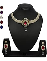 Vk Jewels Wedding Collection Gold Brass Alloy Necklace Set For Women Vknks1206G