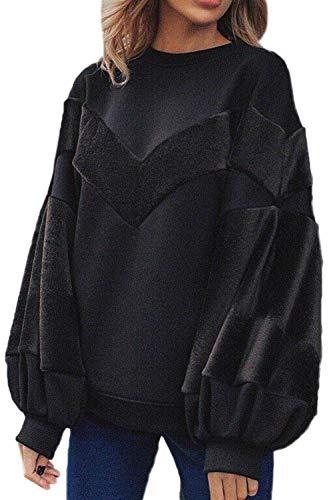 Frauen Casual Scoop Langarm Hals Puff Ärmel Fleece Sweatshirt Pullover Young Fashion Flickenteppich Pulli Tops Herbst Winter (Color : Schwarz, Size : M) -