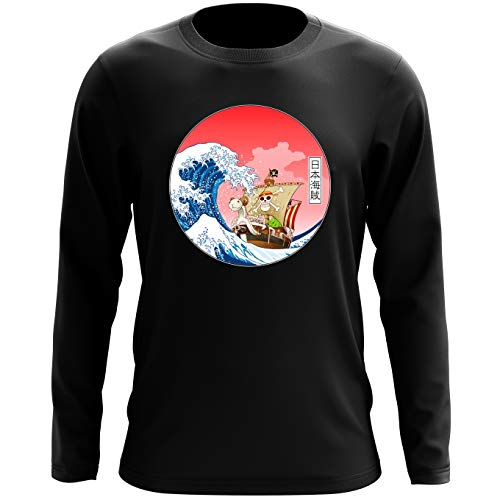 T-Shirt à Manches Longues Noir One Piece parodique La Grande Vague de Kanagawa et Le Vogue Merry : Pirates en mer du Japon. : (Parodie One Piece)