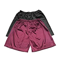 Men's Satin Boxer Shorts, Underwear in Combo Pack, Set of 3 (Wine Red + Black, L)