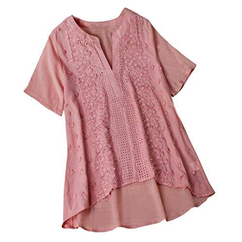 Flattern Ärmel Bluse (Damenmode Stickerei atmungsaktiv solide lässige Bluse Top, Sommer V-Ausschnitt Kurzarm Leinen Tunika Shirts Größe)