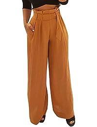 ADELINA Pantalones Anchos Pantalones De Tiempo Libre Pants Elegante Mujer  Primavera Otoño Cintura Alta con Cinturón 2e37ec8f0aa5