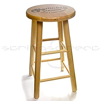 Martin C.F Martin Guitar Solid Wooden Logo Bar Stool