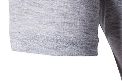 ZhiYuanAN Sommer Herren T-Shirt Unregelmäßiger Saum Mit Knopf Dekoration Casual Farbe Stitching Rundhals Kurzarm Shirt Tops Dunkelgrau