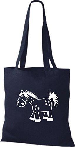 shirtstown Borsa di stoffa animale cavallo pony Blu marino