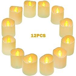 Luces de té LED de funcionamiento con pilas 12Pcs, velas de té eléctricas pequeñas realista, sin perfume y sin llama velas vela teal con luz de bulbo parpadeo blanco cálido para los festivales, decoración del hogar, bodas y fiestas