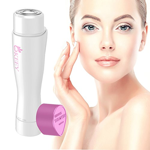 Facial Hair Remover for Women - OKEEY Painless Facial Hair Removal Built-in LED Light Ladies Shaver for Lip Body Chin and Cheek Fuzz Hair