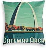 Redsheep Custom Velvet Pillowcase Throw Pillow Pillow Covers Vintage Gateway Arch St.Louis Missouri Art Style Travel Poster Home Decor Pillowslip Cushion Cases with Zipper Couch Cushion Case