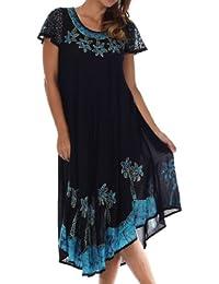 Sakkas Batik Palm Tree Cap Sleeve Caftan Dress/Cover Up