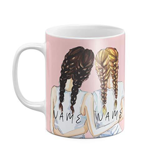 Personalisiert Tasse, Initialen von Vor- und Nachname, Beste Freundin Custom Text Best Friend Girly Rosa Pink Pattern Customize Name, hitzebeständig, aus weißer Keramik, 325 ml Kaffeetasse Teetasse
