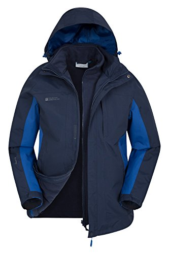 Mountain Warehouse Thunderstorm Wasserfeste 3 in 1 Herren Winterjacke, Warmer Fleecejacke, Regenjacke, Herrenjacke, Funktionsjacke, Allwetterjacke, Doppeljacke, Frühling Marineblau Small