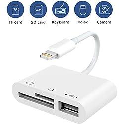 Lecteur de Carte SD/TF 3 en 1 Lightning vers Kit de, Adaptateur pple vers Lecteur de Carte Trail Game,USB 2.0 Femelle OTG Connexion USB Appareil Photo pour Phone/Pad (Blanc)
