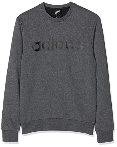adidas Essentials Colorblock Crewneck French Terry Sweatshirt (Long Sleeve), Herren XS dunkelgrau Heather/schwarz Long Sleeve Terry Sweatshirt