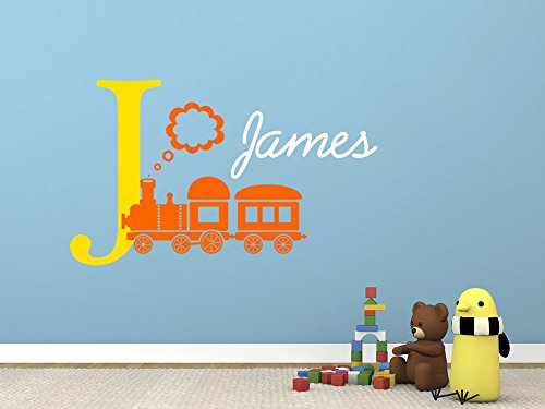 Personalizzabile con il proprio nome, iniziale e Choo Choo Train.Kids-Adesivo decalcomania da parete in vinile Mid Yellow/Orange/White