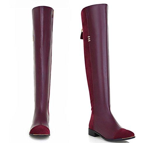YCMDM Bottes Cavalier Side Zipper Haut-Qualit Hautes Bottes Knee Femmes Nouvelle Mode Tempérament Printemps Automne Hiver Noir Rouge 34 35 36 37 38 39 red