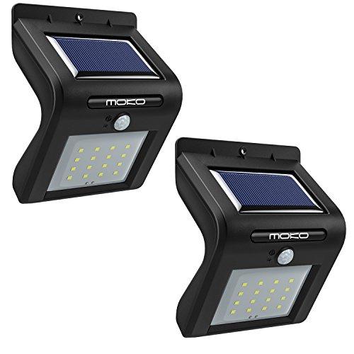 MoKo Luce Solare LED * 2, [2 Pz] 16 Lampadine LED Impermeabile Lampada Sensore di Movimento, Luce di Sicurezza Esterna Senza Fili da Parete, per Giardino, Scala, Campo, Cortile – Nero