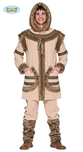 Eskimo Kostüm für Herren Fell Herrenkostüm Eiszeit Tier Arktis Winter Gr. M/L, (Eskimo Kostüm)