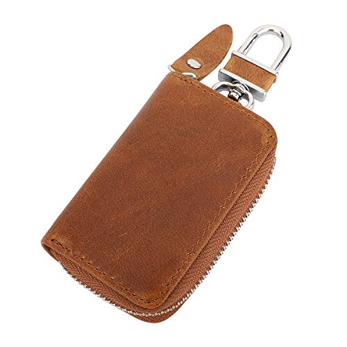 a2df0401c15e MoKo Car Key Case, Retro Wax Leather Car Smart Keychain Coin Fob Punch  Holder Wear-Resistant Key Zipper Bag with Metal Hook, Support Remote  Control - ...