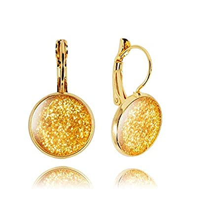 Luxe Boucles d'Oreilles Gouttes Poussière d'Étoiles de couleur Or; Cadeau Love Fête pour Femme; Dimension 2.8x1.4cm