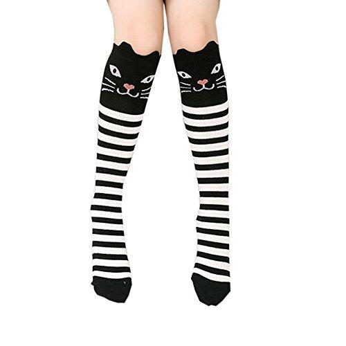 Goosuny Kindersocken Niedlich Tier Muster Drucken Kniestrümpfe Mädchen Lange Socken Weich Elastisch Nette Schüler Overknee Strümpfe Baumwollstrümpfe Überknie Sportsocken Kniesocken