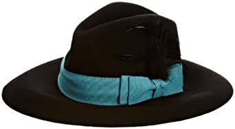 Helene Berman Learge Feather Fedora Women's Hat Black/Turquoise One Size