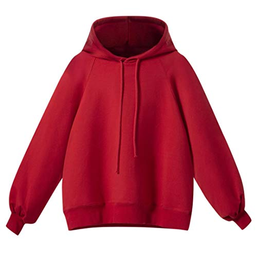 FeiliandaJJ Womens Hoodies, Ladies Winter Autumn Round Neck Puff Long Sleeve Pullover Hooded Daily Casual Sport Coat Sweatshirt Tops